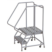 "2 Step Aluminum Rolling Ladder, 16""W Ribbed Tread, 21""D Top Step, 32"" Handrails"