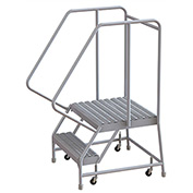 "2 Step Aluminum Rolling Ladder, 16""W Grip Tread, 21""D Top Step, 32"" Handrails"
