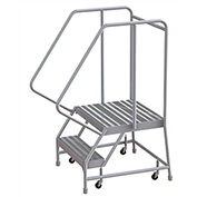 "2 Step Aluminum Rolling Ladder, 24""W Ribbed Tread, 21""D Top Step, 32"" Handrails"