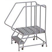 "2 Step Aluminum Rolling Ladder, 24""W Ribbed Tread, 28""D Top Step, 32"" Handrails"