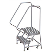 "2 Step Aluminum Rolling Ladder, 24""W Ribbed Tread, 14""D Top Step, 32"" Handrails - WLAR102244"