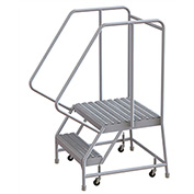"2 Step Aluminum Rolling Ladder, 24""W Grip Tread, 21""D Top Step, 32"" Handrails"