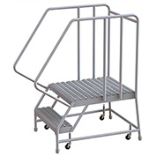 "2 Step Aluminum Rolling Ladder, 24""W Grip Tread, 28""D Top Step, 32"" Handrails"