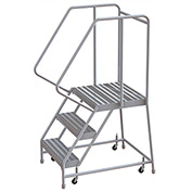 "3 Step Aluminum Rolling Ladder, 16""W Ribbed Tread, 21""D Top Step, 32"" Handrails"