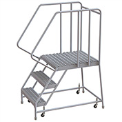 "3 Step Aluminum Rolling Ladder, 16""W Grip Tread, 28""D Top Step, 32"" Handrails"