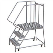 "3 Step Aluminum Rolling Ladder, 24""W Ribbed Tread, 28""D Top Step, 32"" Handrails"