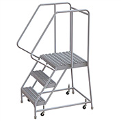 "3 Step Aluminum Rolling Ladder, 24""W Grip Tread, 21""D Top Step, 32"" Handrails"