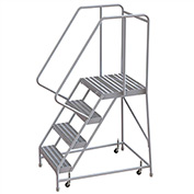 "4 Step Aluminum Rolling Ladder, 16""W Ribbed Tread, 21""D Top Step, 32"" Handrails"