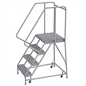 "4 Step Aluminum Rolling Ladder, 16""W Grip Tread, 21""D Top Step, 32"" Handrails"