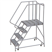 "4 Step Aluminum Rolling Ladder, 24""W Ribbed Tread, 28""D Top Step, 32"" Handrails"