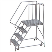 "4 Step Aluminum Rolling Ladder, 24""W Grip Tread, 28""D Top Step, 32"" Handrails"