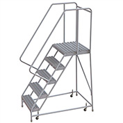 "5 Step Aluminum Rolling Ladder, 16""W Grip Tread, 21""D Top Step, 32"" Handrails"