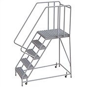 "5 Step Aluminum Rolling Ladder, 16""W Grip Tread, 28""D Top Step, 32"" Handrails"
