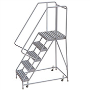 "5 Step Aluminum Rolling Ladder, 24""W Ribbed Tread, 21""D Top Step, 32"" Handrails"