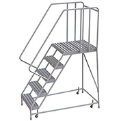 "5 Step Aluminum Rolling Ladder, 24""W Ribbed Tread, 28""D Top Step, 32"" Handrails"