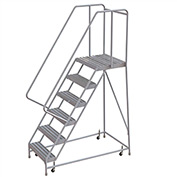 "6 Step Aluminum Rolling Ladder, 16""W Ribbed Tread, 21""D Top Step, 32"" Handrails"