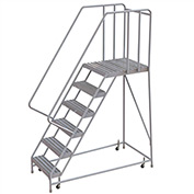 "6 Step Aluminum Rolling Ladder, 16""W Ribbed Tread, 28""D Top Step, 32"" Handrails"