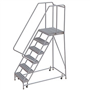 "6 Step Aluminum Rolling Ladder, 16""W Grip Tread, 21""D Top Step, 32"" Handrails"