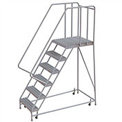 "6 Step Aluminum Rolling Ladder, 24""W Grip Tread, 28""D Top Step, 32"" Handrails"