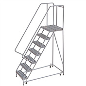 "7 Step Aluminum Rolling Ladder, 16""W Ribbed Tread, 21""D Top Step, 32"" Handrails"