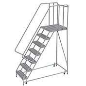 "7 Step Aluminum Rolling Ladder, 16""W Ribbed Tread, 28""D Top Step, 32"" Handrails"
