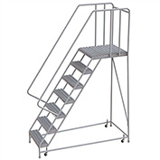 "7 Step Aluminum Rolling Ladder, 16""W Grip Tread, 28""D Top Step, 32"" Handrails"