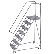 "7 Step Aluminum Rolling Ladder, 24""W Grip Tread, 21""D Top Step, 32"" Handrails"