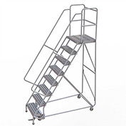 "8 Step Aluminum Rolling Ladder, 24""W Ribbed Tread, 21""D Top Step, 32"" Handrails"