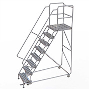 "8 Step Aluminum Rolling Ladder, 24""W Ribbed Tread, 28""D Top Step, 32"" Handrails"