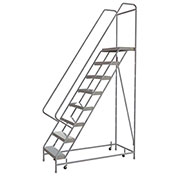 "8 Step Aluminum Rolling Ladder, 24""W Ribbed Tread, 14""D Top Step, 42"" Handrails - WLAR108244C"