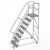 "8 Step Aluminum Rolling Ladder, 24""W Grip Tread, 21""D Top Step, 32"" Handrails"