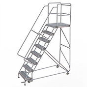 "8 Step Aluminum Rolling Ladder, 24""W Grip Tread, 28""D Top Step, 32"" Handrails"