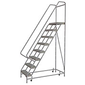 "8 Step Aluminum Rolling Ladder, 24""W Grip Strut Tread, 14""D Top Step, 42"" Handrails - WLAR108245C"
