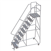 "9 Step Aluminum Rolling Ladder, 24""W Ribbed Tread, 21""D Top Step, 32"" Handrails"