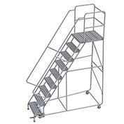 "9 Step Aluminum Rolling Ladder, 24""W Ribbed Tread, 28""D Top Step, 32"" Handrails"