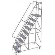 "9 Step Aluminum Rolling Ladder, 24""W Ribbed Tread, 14""D Top Step, 32"" Handrails - WLAR109244"