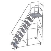 "9 Step Aluminum Rolling Ladder, 24""W Grip Tread, 28""D Top Step, 32"" Handrails"
