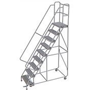 "9 Step Aluminum Rolling Ladder, 24""W Grip Strut, 14""D Top Step, 32"" Handrails - WLAR109245"
