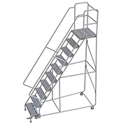"10 Step Aluminum Rolling Ladder, 24""W Ribbed Tread, 21""D Top Step, 32"" Handrails"