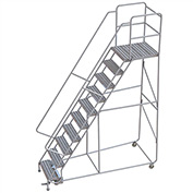 "10 Step Aluminum Rolling Ladder, 24""W Ribbed Tread, 28""D Top Step, 32"" Handrails"