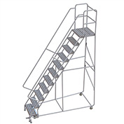 "11 Step Aluminum Rolling Ladder, 24""W Ribbed Tread, 21""D Top Step, 32"" Handrails"