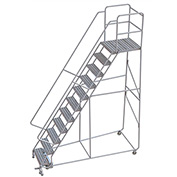 "11 Step Aluminum Rolling Ladder, 24""W Ribbed Tread, 28""D Top Step, 32"" Handrails"