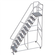 "11 Step Aluminum Rolling Ladder, 24""W Grip Tread, 21""D Top Step, 32"" Handrails"
