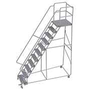 "11 Step Aluminum Rolling Ladder, 24""W Grip Tread, 28""D Top Step, 32"" Handrails"