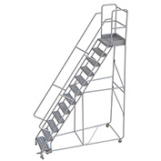 "12 Step Aluminum Rolling Ladder, 24""W Ribbed Tread, 21""D Top Step, 32"" Handrails"