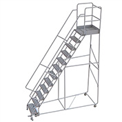 "12 Step Aluminum Rolling Ladder, 24""W Ribbed Tread, 28""D Top Step, 32"" Handrails"
