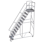 "12 Step Aluminum Rolling Ladder, 24""W Grip Tread, 28""D Top Step, 32"" Handrails"