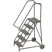 "5 Step Aluminum Wheel-Barrow Style Rolling Ladder 16""W X 14""D Plat. Ribbed Tread - WLARTR105164"