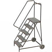 "5 Step Aluminum Wheel-Barrow Style Rolling Ladder 24""W X 14""D Plat. Grip Strut Tread - WLARTR105245"