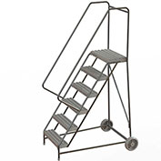 "6 Step Aluminum Wheel-Barrow Style Rolling Ladder 24""W X 14""D Plat. Grip Strut Tread - WLARTR106245"